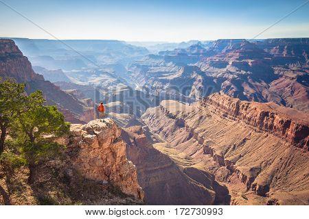 Hiker In Grand Canyon National Park, Arizona, Usa