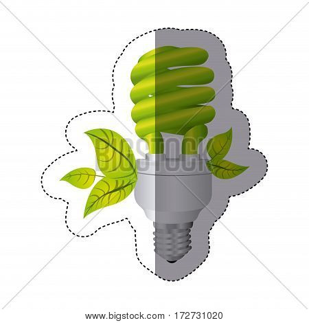 color sticker silhouette with spiral fluorescent lamp and leaves vector illustration