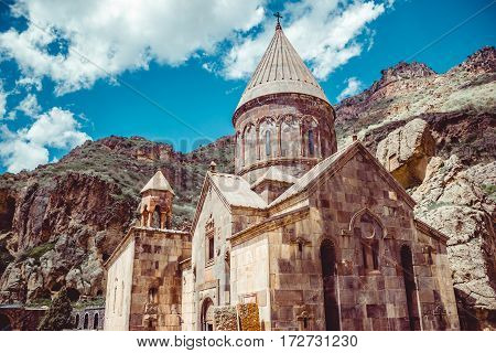 Geghardavank or Geghard monastic complex is Orthodox Christian monastery, Armenia. Armenian architecture. Pilgrimage place. Religion background. Travel concept. Cave monastery
