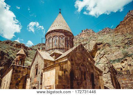 Geghardavank or Geghard monastic complex is Orthodox Christian monastery, Armenia. Armenian architecture. Pilgrimage place. Religion background. Travel concept. Cave monastery. Horizontal
