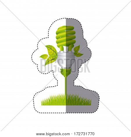 color sticker silhouette with spiral fluorescent lamp with leaves and grass vector illustration