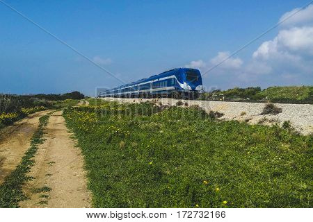 High speed train crossing near the nature.