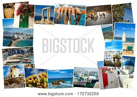 Collage of images from famous location in the cyclades, Greece with copy space