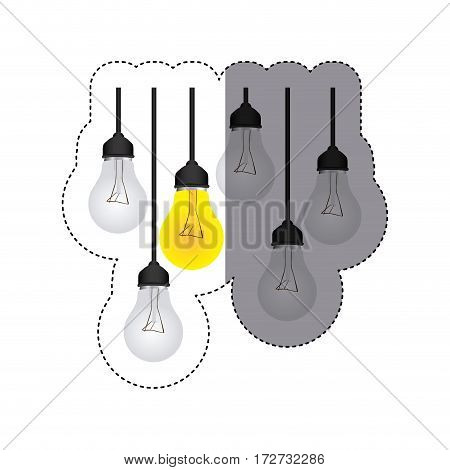 color sticker silhouette with set of bulb lights vector illustration