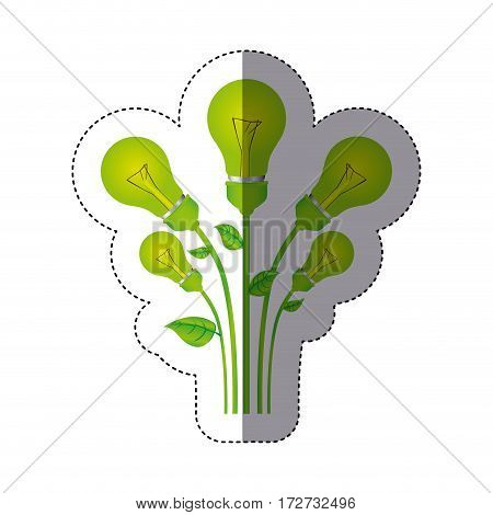 color sticker silhouette with set of bulb light with stem and leaves vector illustration