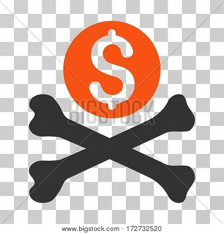 Mortal Debt icon. Vector illustration style is flat iconic bicolor symbol orange and gray colors transparent background. Designed for web and software interfaces.
