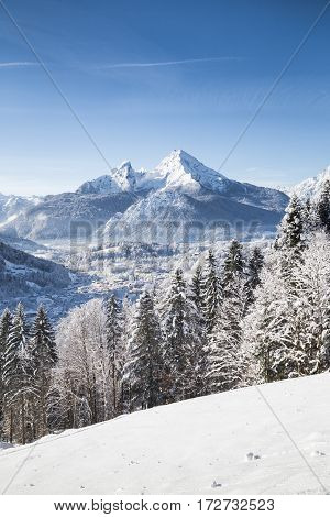Winter Wonderland With Watzmann And The Town Of Berchtesgaden In Winter, Bavaria, Germany