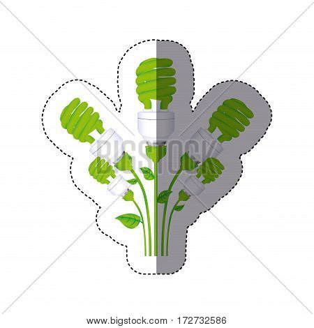 color sticker silhouette with set of spiral fluorescent lamp with stem and leaves vector illustration