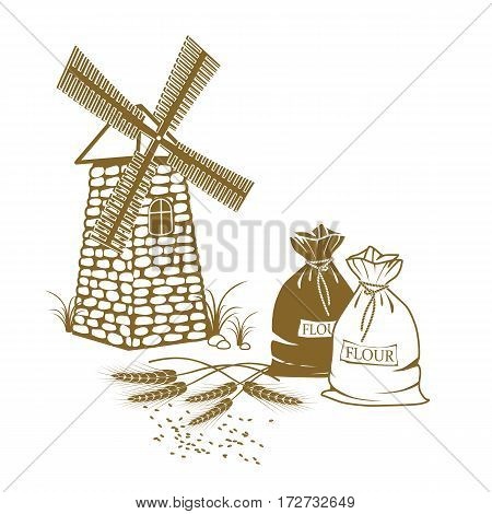 Vector illustration of ears of wheat sacks of flour and windmill on the white background