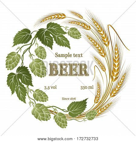 hops and wheat illustration for beer label