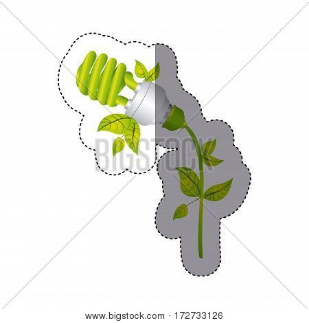 color sticker silhouette with spiral fluorescent lamp with leaves and inclined to left side vector illustration