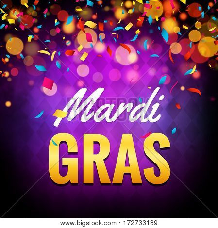 Vector mardi gras carnival greeting card. Purple festive illustration. Fun holiday party poster of mardi gras.