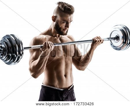 Muscular guy doing exercises with barbell isolated on white background. Strength and motivation.