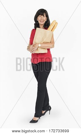 Caucasian Lady Holding French Loaf