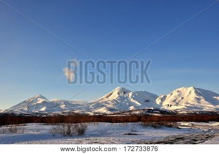 Beautiful winter volcanic landscape of Kamchatka Peninsula