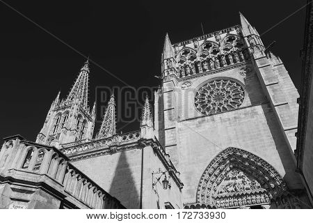 Burgos (Castilla y Leon Spain): exterior of the medieval cathedral in gothic style at morning. Black and white