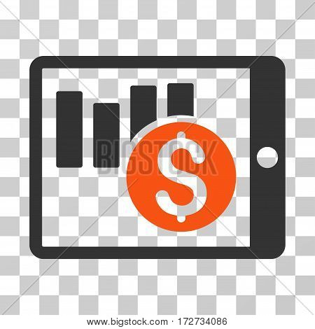 Sales Chart On PDA icon. Vector illustration style is flat iconic bicolor symbol orange and gray colors transparent background. Designed for web and software interfaces.