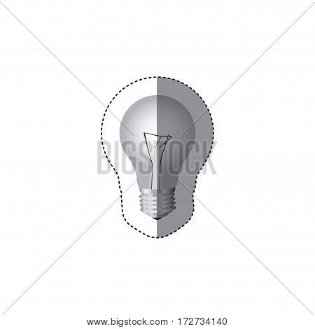 grayscale sticker silhouette with light bulb vector illustration