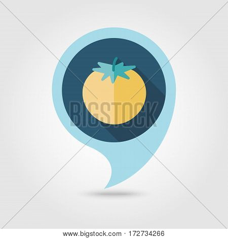 Tomato flat vector pin map icon. Map pointer. Map markers. Vegetable vector illustration eps 10