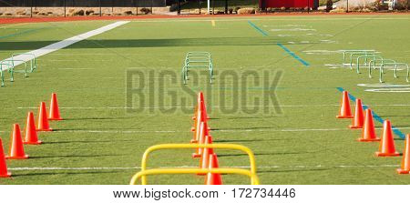 Orange cones and green hurdles are set up for agility training on a turf field