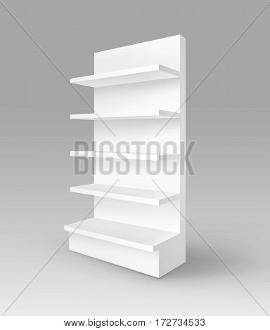 Vector White Blank Empty Exhibition Trade Stand Shop Rack with Shelves Storefront Isolated on Background