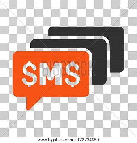 SMS Messages icon. Vector illustration style is flat iconic bicolor symbol orange and gray colors transparent background. Designed for web and software interfaces.