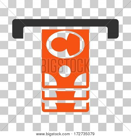 Withdraw Banknotes icon. Vector illustration style is flat iconic bicolor symbol orange and gray colors transparent background. Designed for web and software interfaces.