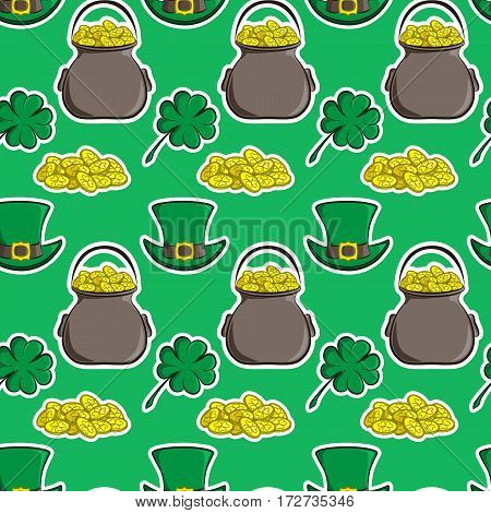 Vector seamless pattern St. Patrick s Day. Quatrefoil clover, leprechaun hat, pot of gold and a handful of coins. Holiday symbols located in the traditional green background. Usable for design of packing, scrapbook, web, wallpaper, textile, card