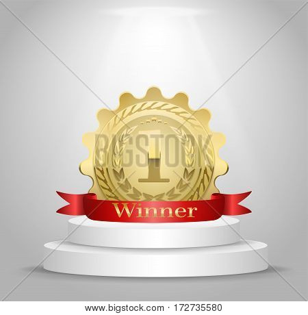 Realistic vector gold medal on red ribbon. Winner simbol. Vector illustration.