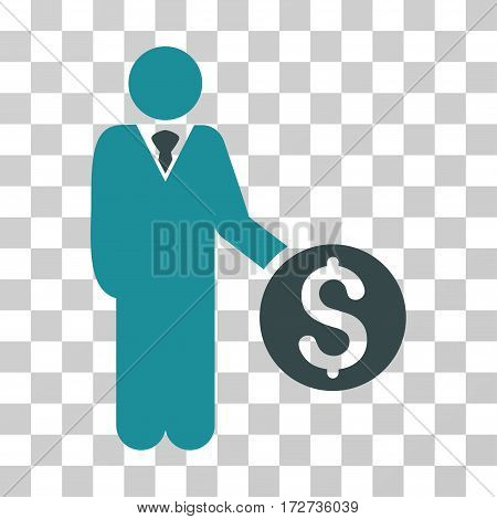 Banker icon. Vector illustration style is flat iconic bicolor symbol soft blue colors transparent background. Designed for web and software interfaces.