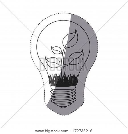 grayscale contour sticker with bulb light and plant with stem and leaves vector illustration