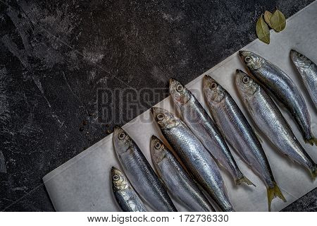 Raw Small Sprat Like Forage Fishes On A Paper Diagonal Composition, With Copy Space On A Dark Black