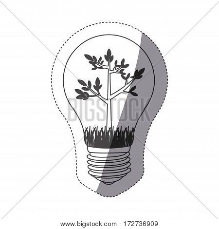 grayscale contour sticker with bulb light and tree growing vector illustration