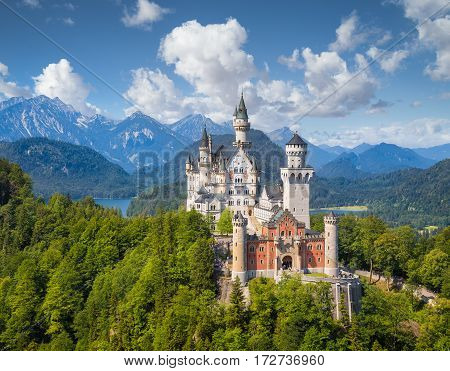 Classic View Of Neuschwanstein Castle, Bavaria, Germany