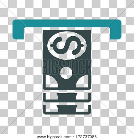 Banknotes Withdraw icon. Vector illustration style is flat iconic bicolor symbol soft blue colors transparent background. Designed for web and software interfaces.