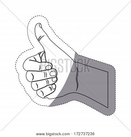 grayscale contour sticker with hand with signal approved vector illustration
