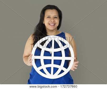 Black Hair Woman Holding Globe Number Studio Portrait