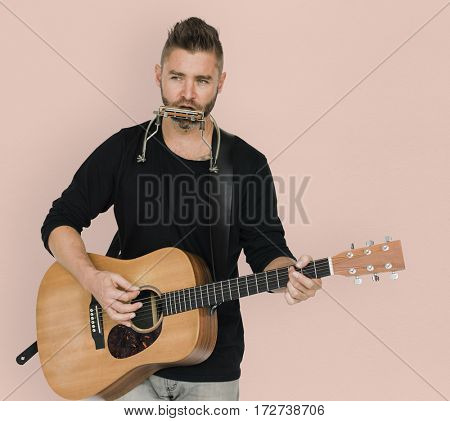 Men Musician Play Guitar Harmonica