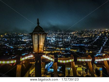 Aerial View Night Scene At Quito City Ecuador