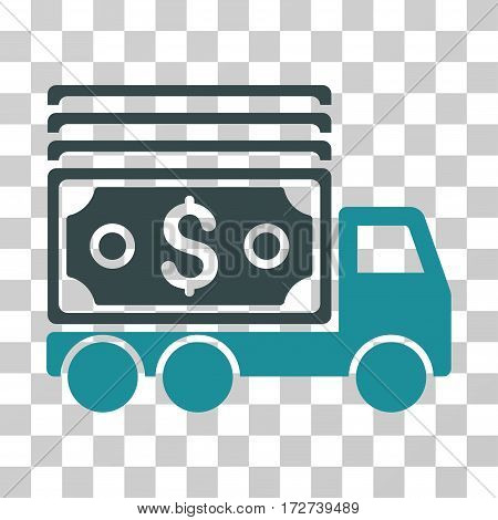 Cash Lorry icon. Vector illustration style is flat iconic bicolor symbol, soft blue colors, transparent background. Designed for web and software interfaces.