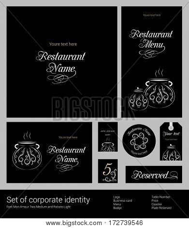 Set of corporate identity for restaurant, cafe or confectionery, business template branding, abstract white patterns on black background, vector illustration