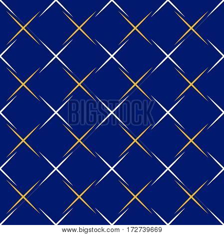 Seamless background for your designs. Modern vector ornament whith white and golden lines. Geometric abstract pattern