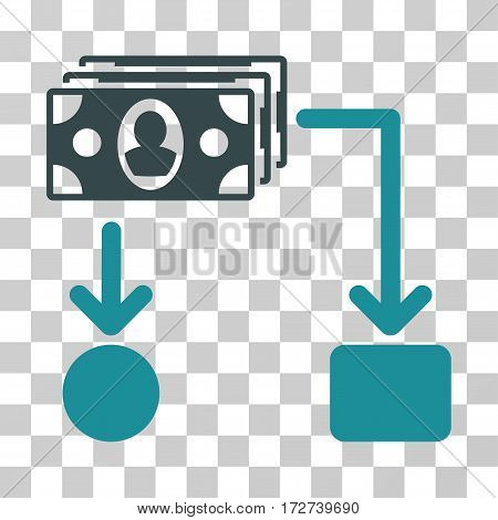 Cashflow icon. Vector illustration style is flat iconic bicolor symbol, soft blue colors, transparent background. Designed for web and software interfaces.