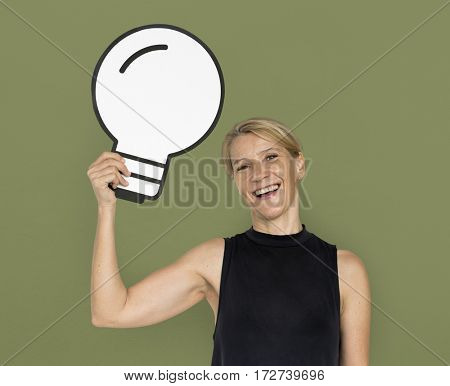 Woman Smiling Happiness Paper Craft Arts Light Bulb Ideas Studio Portrait