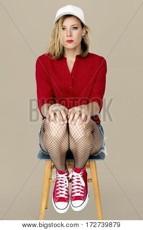 Woman Casual Sitting Studio Portrait