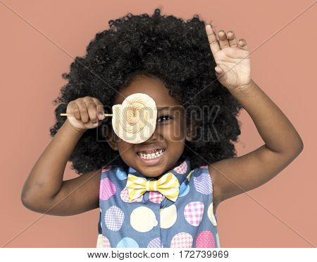 African Descent Child Lollipop Candy