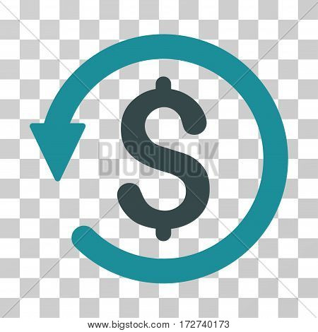 Chargeback icon. Vector illustration style is flat iconic bicolor symbol, soft blue colors, transparent background. Designed for web and software interfaces.