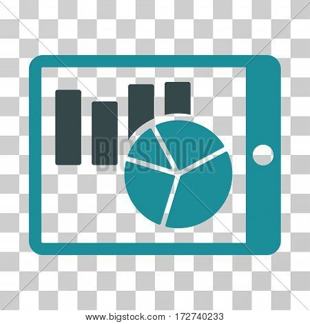Charts On PDA icon. Vector illustration style is flat iconic bicolor symbol, soft blue colors, transparent background. Designed for web and software interfaces.