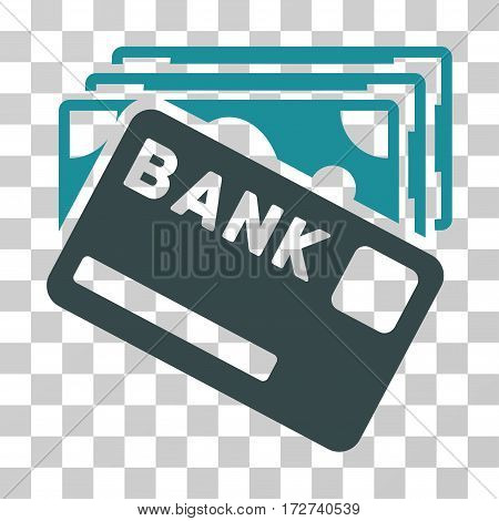 Credit Money icon. Vector illustration style is flat iconic bicolor symbol, soft blue colors, transparent background. Designed for web and software interfaces.