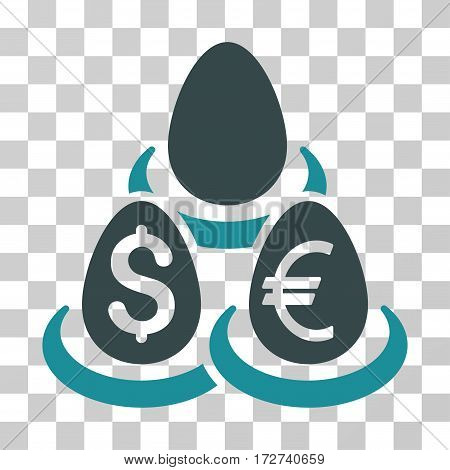 Currency Deposit Diversification icon. Vector illustration style is flat iconic bicolor symbol, soft blue colors, transparent background. Designed for web and software interfaces.